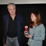 """Tim Parfitt representing 3D Content Hub presents Best 3D Documentary Award to """"MOONGLOW, The Lives"""", South Korea. Yoonsun Choi accepts the Award on behalf of CHAN HAE RANG."""